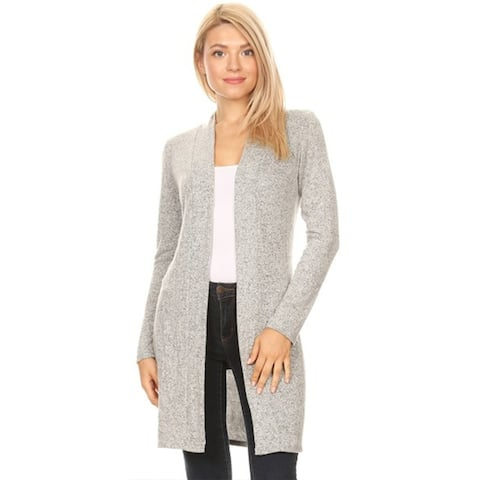 Basic Solid Knit Open Front Long Body Duster Sweater Cardigan