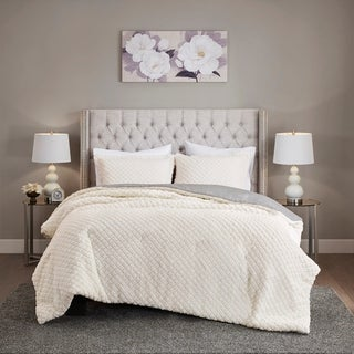 Link to Madison Park Colden Ivory/ Grey Reversible Textured Sherpa to Faux Mink Comforter Set (As Is Item) Similar Items in As Is