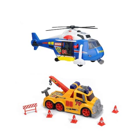 Majorette Action Series Bundle Helicopter & Tow Truck