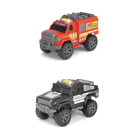 Dickie Toys Light and Sound Motorized Bundle Fire Rescue & Police Vehicles