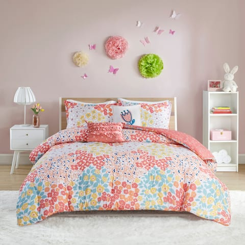 Taylor & Olive Buttercup Coral Cotton Reversible Comforter Set