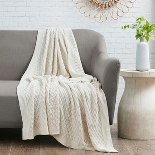 Madison Park Malone Tan Cotton Knit Throw