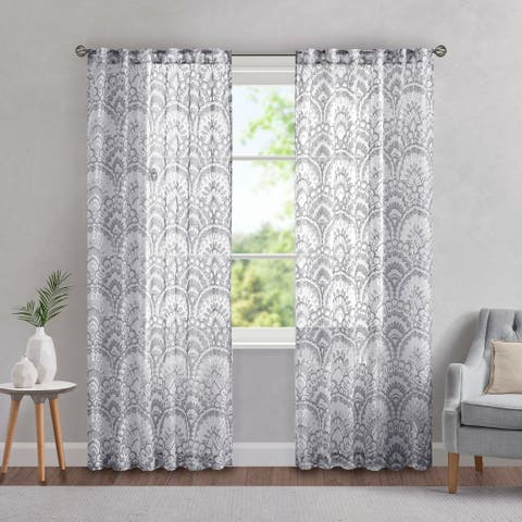 Madison Park Cyrene Printed Burnout Sheer Single Curtain Panel