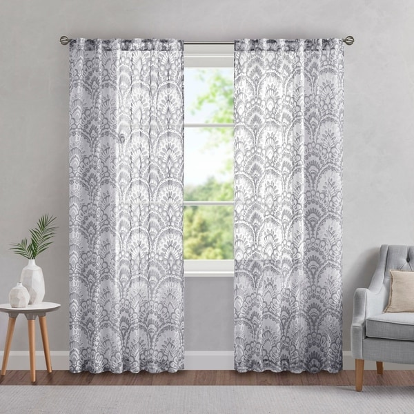 Madison Park Cyrene Printed Burnout Sheer Single Curtain Panel. Opens flyout.