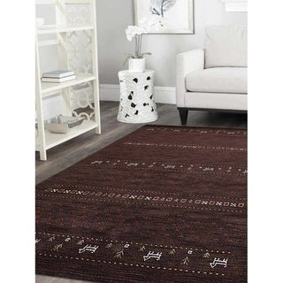 Gabbeh Modern Striped Carpet Indian Oriental Hand Knotted Area Rug - 5' x 8'