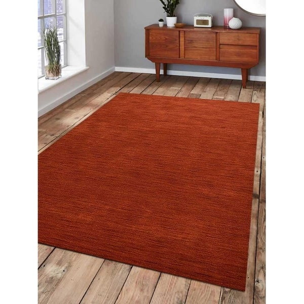 Modern Solid Hand-Knotted Gabbeh Carpet Indian Oriental Area Rug