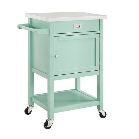 Wooden Apartment Cart with Drawer and Caster Wheels, Green and Silver