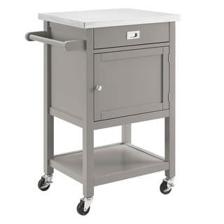 Wooden Apartment Cart with Drawer and Caster Wheels, Gray and Silver