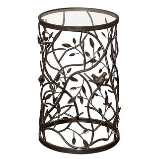 Glass Top Iron Accent Table with Bird and Branch Motif, Brown and Clear