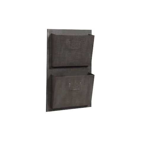 Industrial Style Metal Mailbox with Two Slots, Black