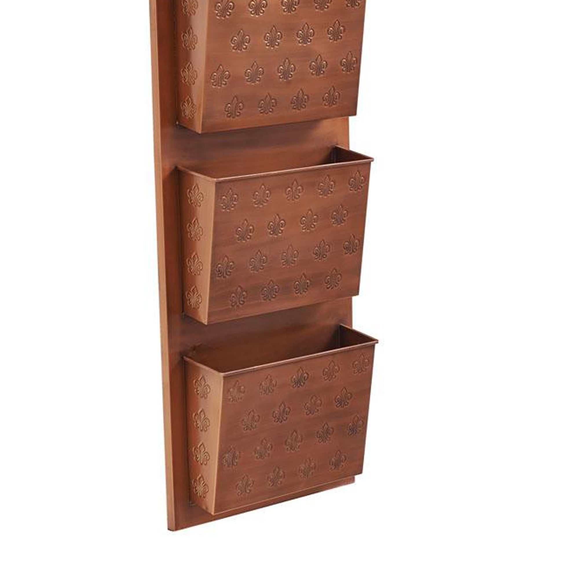 Picture of: Shop Iron Wall Mailbox With 4 Storage Slots And Fleur De Lis Detail Copper On Sale Overstock 29482712