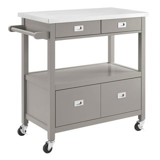 Wooden Kitchen Cart with Handle and 4 Drawers, Gray and Silver