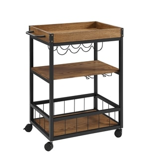 Wood and Metal Kitchen Cart with Caster Wheels, Black and Brown