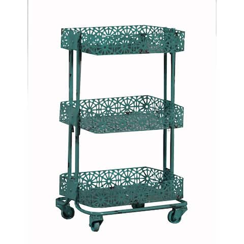 3 Tier Spacious Metal Cart with Pierced Floral Design, Blue