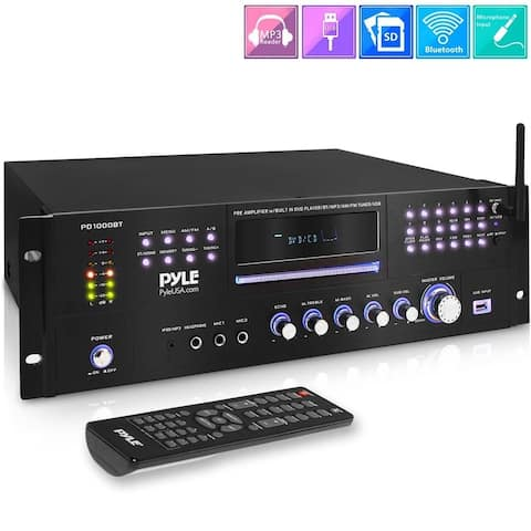 Pyle 1000W Stereo Speaker Home Audio Receiver 4 Channel Wireless Bluetooth Power Amplifier with USB, Headphone, FM Radio