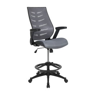 Offex High Back Mesh Spine-Back Ergonomic Drafting Chair with Adjustable Foot Ring and Adjustable Flip-Up Arms - Dark Gray