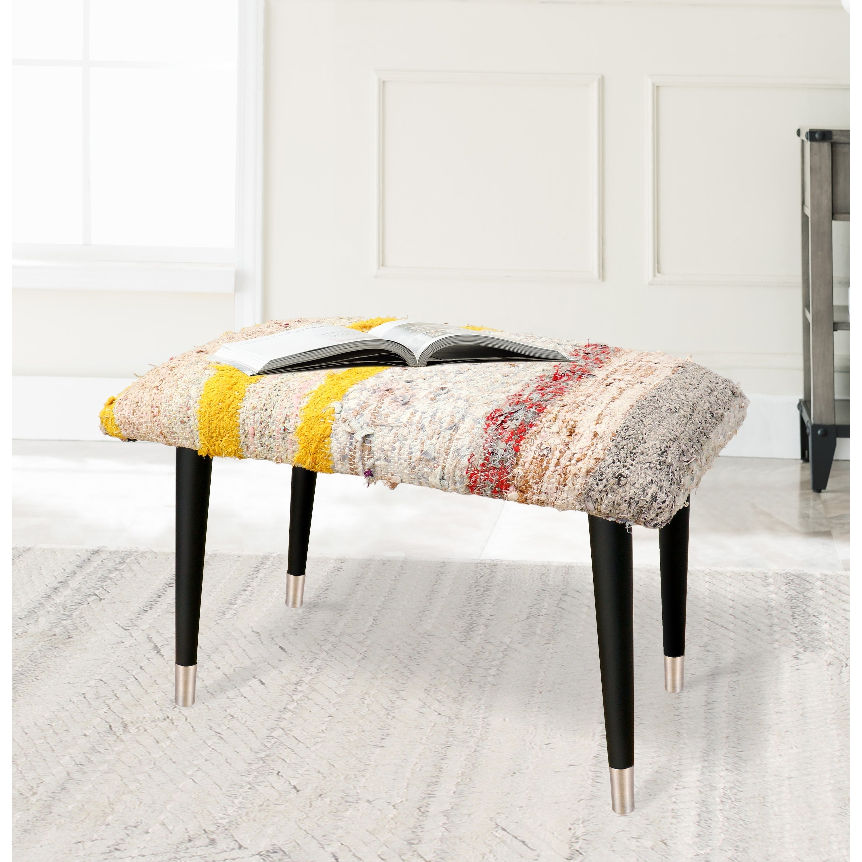 Pasargad Home Bosphorus Collection Vintage Kilim Cover Ottoman On Sale Overstock 29483070 Off White And Brown
