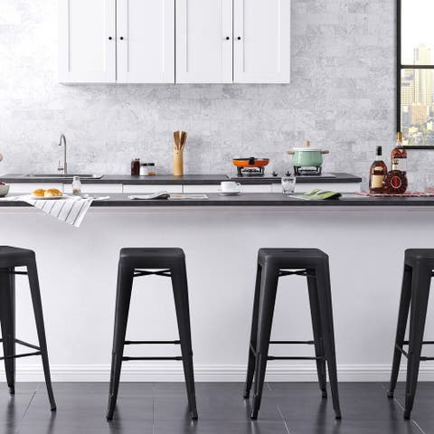 Backless Modern Industrial 30 In. Metal Bar Stools Set of 4