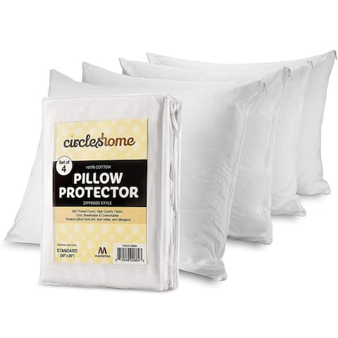 Circles Home Cotton Pillow Protector with Zippered Cover (Set of 4)