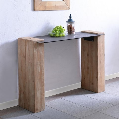 """Indy Natural Wood & Iron Console Table - 32""""H x 48""""W - 48"""" x 16"""" x 32""""H - 48"""" x 16"""" x 32""""H"""