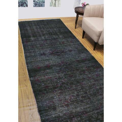 """Noori Rug Vintage Distressed Zoyaan Black/Purple Runner - 4'5"""" x 10'11"""""""
