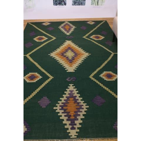 "Noori Rug Winchester Kilim Tamara Green/Ivory Rug - 6'9"" x 9'8"""