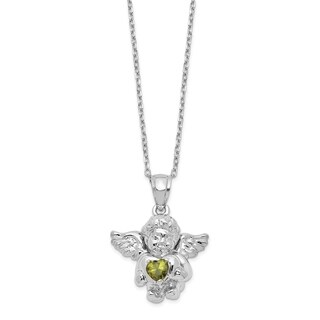 Versil Sterling Silver CZ August Birthstone Angel Ash Holder 18 Inch Necklace