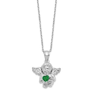 Versil Sterling Silver CZ May Birthstone Angel Ash Holder 18 Inch Necklace