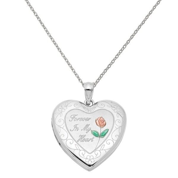 Rhodium-Plated Sterling Silver Flower Ash Holder Heart Locket Pendant