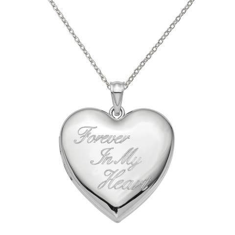 Sterling Silver Rhodium-plated 24mm Forever in My Heart Ash Holder Heart Locket with 18-inch Cable Chain by Versil