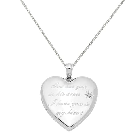 Sterling Silver Rhodium-plated God Has.. Diamond Ash Holder Heart Locket with 18-inch Chain by Versil