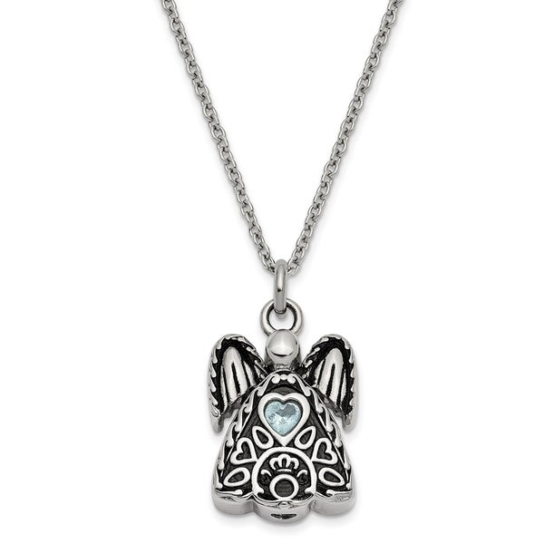 Stainless Steel March Cubic Zirconia Birthstone Antiqued Angel Ash Holder 18-inch Necklace by Versil. Opens flyout.