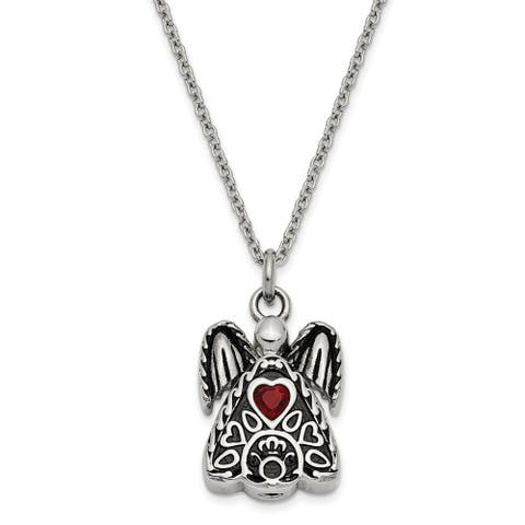 Stainless Steel January Cubic Zirconia Birthstone Antiqued Angel Ash Holder 18-inch Necklace by Versil