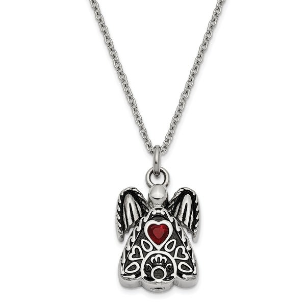 Stainless Steel January Cubic Zirconia Birthstone Antiqued Angel Ash Holder 18-inch Necklace by Versil. Opens flyout.
