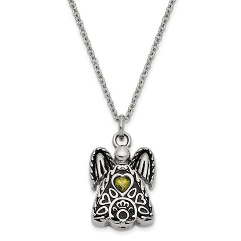 Stainless Steel Polished August Cubic Zirconia Birthstone Antiqued Angel Ash Holder 18-inch Necklace by Versil
