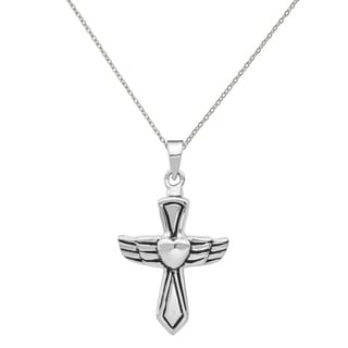 Versil Sterling Silver Rhodium Plated Antiqued Cross With Heart Ash Holder Pendant With 18 Inch Chain