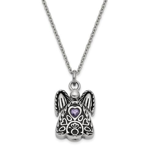 Stainless Steel February Cubic Zirconia Birthstone Antiqued Angel Ash Holder 18-inch Necklace by Versil