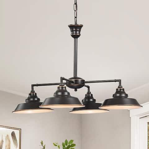 Carbon Loft Nguyen Oil Rubbed Bronze 4-Light Pendant Chandelier with Metal Pan Shade