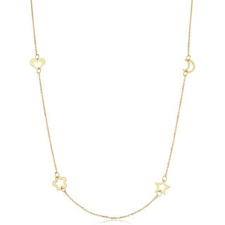 14k Yellow Gold Heart Flower Star Moon Station Necklace Adjusts To 17 Or 18 Inches