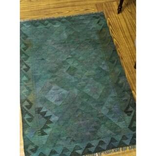 "Noori Rug Overdyed Kilim Uazira Green/Purple Rug - 2'8"" x 3'10"""