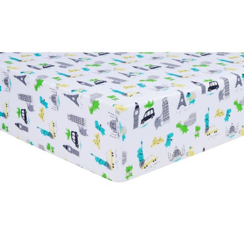 Dinosaurs Around the World Jersey Fitted Crib Sheet