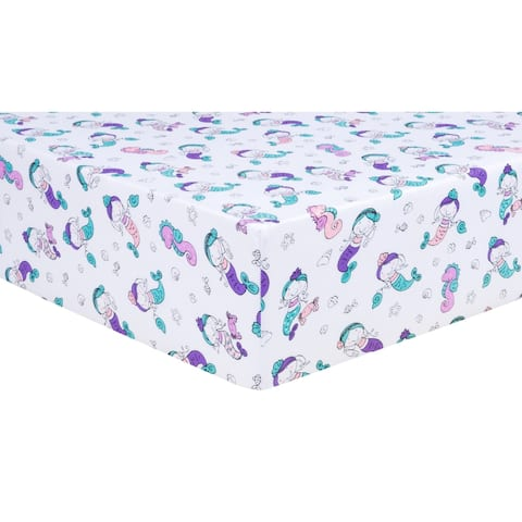 Mermaids Jersey Fitted Crib Sheet