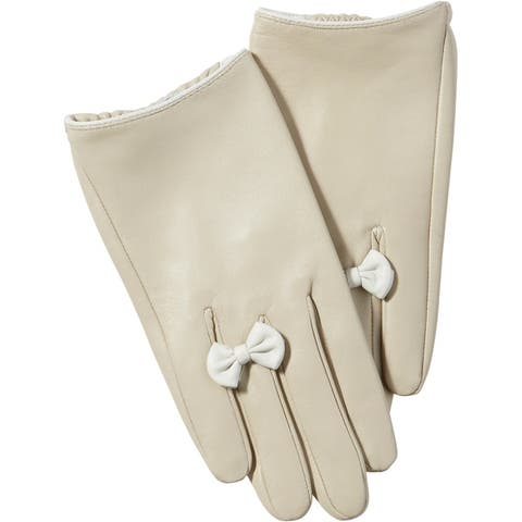 Tickled Pink Petite Bow Leather Gloves