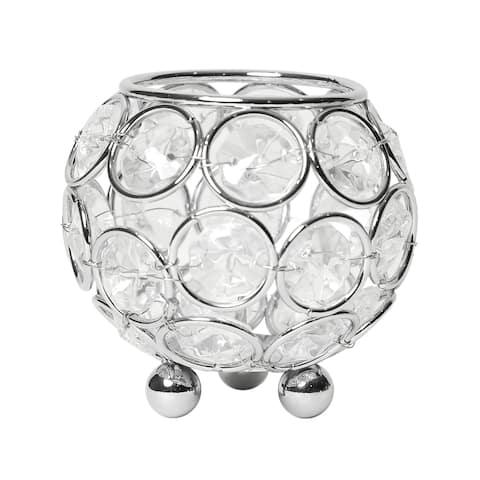 Elegant Designs Elipse Crystal Vase,Candle Holder, Centerpiece, Chrome