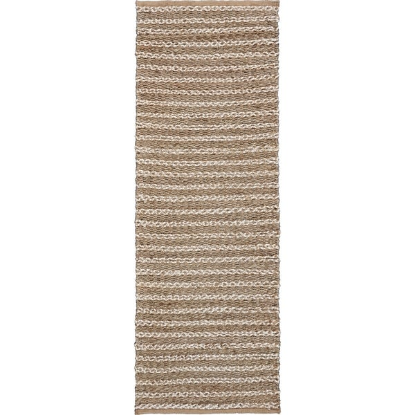 """Hints of Gray and Ivory Natural Striped Runner - 2'0"""" x 5'8"""""""