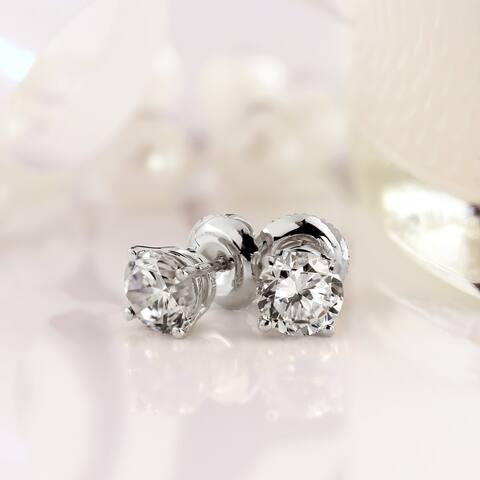 Auriya 2ctw Round Diamond Stud Earrings 14k Gold Certified