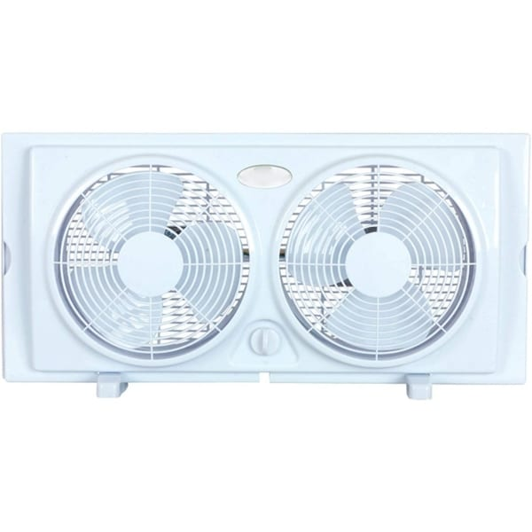 Optimus 7-Inch Twin 2-Speed Window Fan, White F-5280
