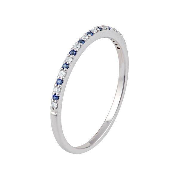 10k White Gold Genuine Sapphire and Diamond Petite Stackable Band