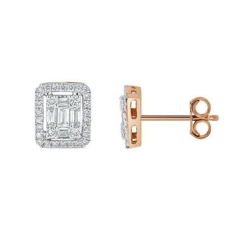 Auriya 1/2ctw Emerald Halo Diamond Stud Earrings 14K Gold