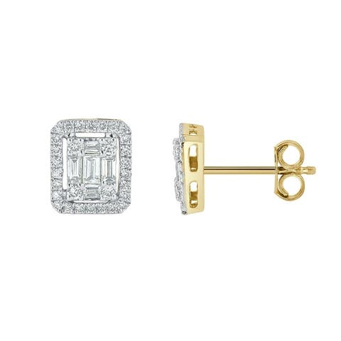 Auriya 1/2ctw Emerald Halo Diamond Stud Earrings 14K Gold